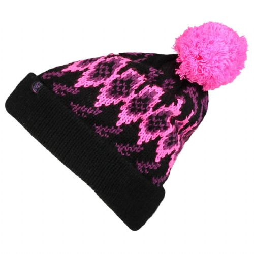 60e9be7e17c O NEILL SKI HAT.NEW REISSUE BLACK PINK KNITTED BOBBLE POMPOM BEANIE 7W 118 .